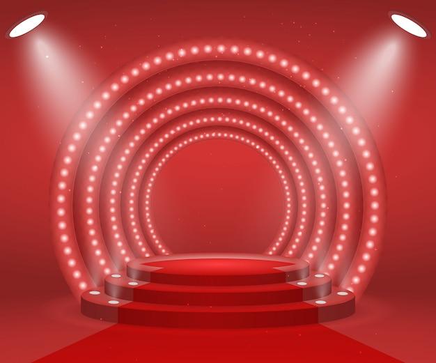 Escenario con luces para entrega de premios. podio redondo iluminado con alfombra roja. pedestal.