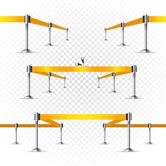 Escenario luminoso fotorrealista con proyectores y cinta amarilla. plantilla de vector de presentación. cintas vectoriales en transparente