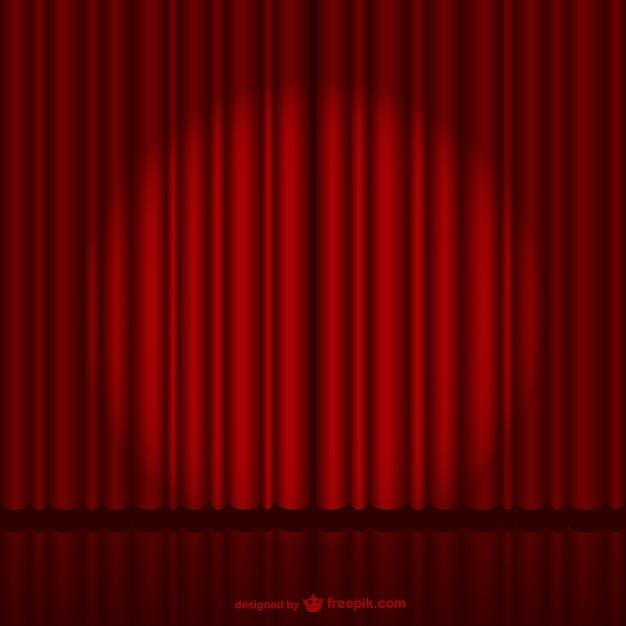 Escenario oscuro con cortina roja