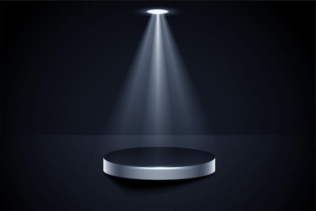 Escenario de podio brillante con fondo de foco de foco