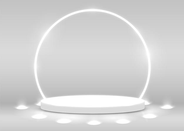 Escenario del podio para la ceremonia de premiación iluminado con foco. concepto de ceremonia de premiación. telón de fondo del escenario. ilustración vectorial