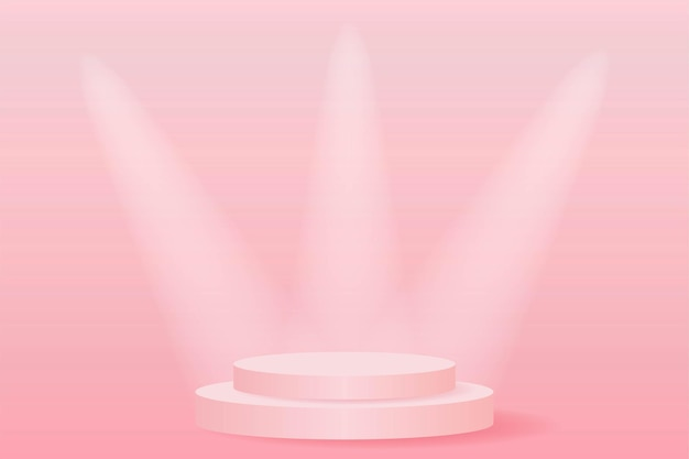 Escenario podio foco rosa.