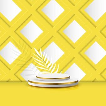 Escenario de podio vacío para exhibición de productos o promoción con hojas en fondo amarillo