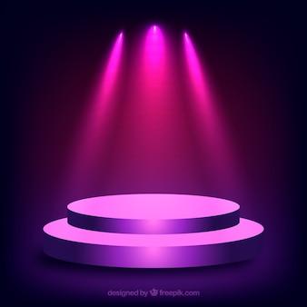 Escenario realista en forma de podium con luces elegantes