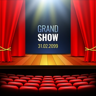 Escenario de teatro con cortina. podio. sala de conciertos. cartel para el show.