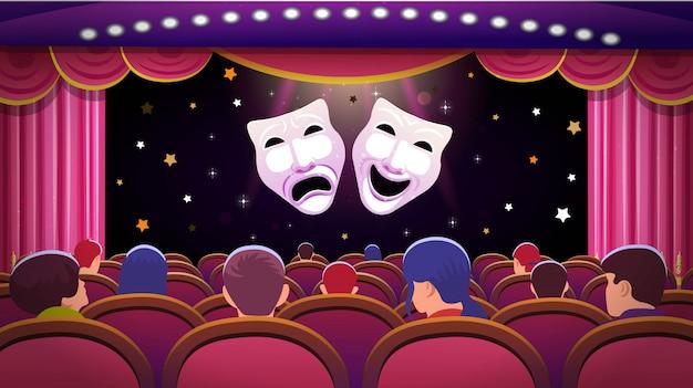 Un escenario de teatro con una cortina roja abierta y asientos rojos con personas y máscaras de teatro de comedia y tragedia. ilustración de plantilla de vector
