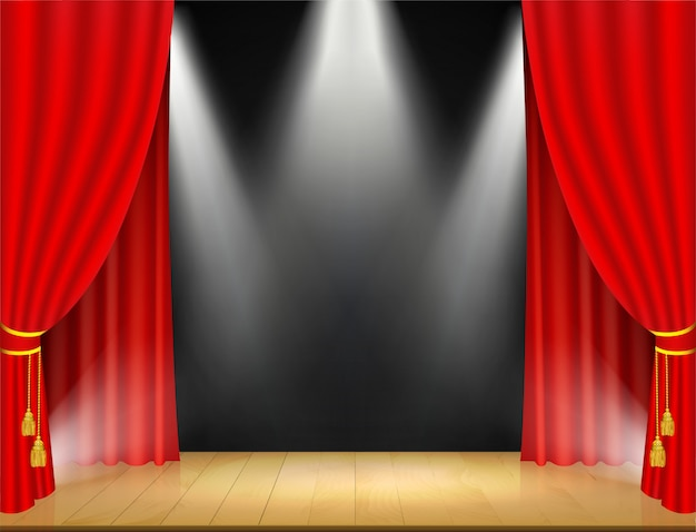 Escenario de teatro con focos y cortina roja.