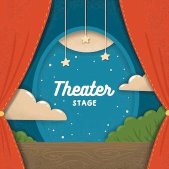 Escenario de teatro de papel plano de dibujos animados con cortinas rojas y nubes
