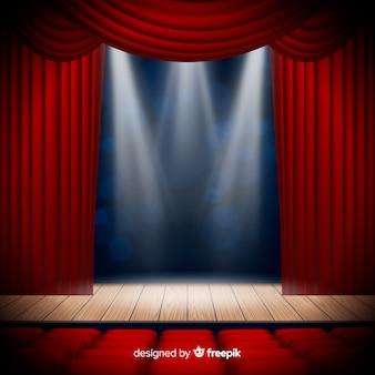 Escenario de teatro realista con asientos.