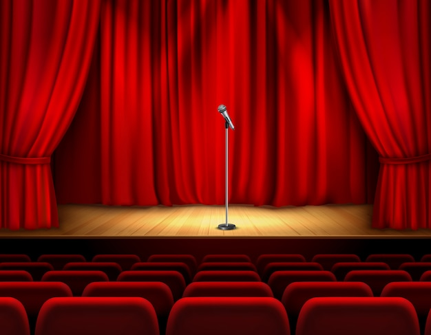 Escenario de teatro realista con pisos de madera y micrófono con cortina roja y asientos para espectadores.