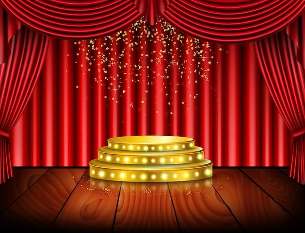 Escenario vacío con fondo rojo de la cortina