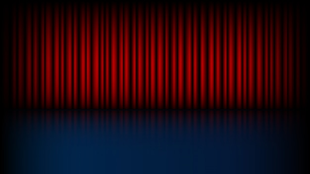 Escenario vacío con telón rojo cerrado
