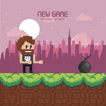 Escenario de videojuegos urbanos pixelados.