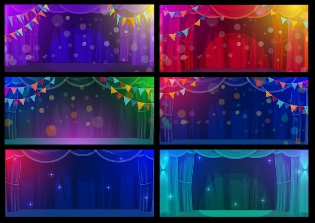Escenarios interiores de circo y teatro de shapito, escenas vacías vectoriales con cortinas entre bastidores, guirnaldas de banderas e iluminación. teatro de conciertos de ópera o ballet de dibujos animados con cortinas y destellos luminosos o destellos