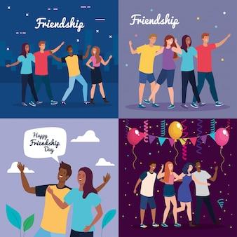 Escenarios de personajes felices, jóvenes, entusiasmo por la amistad, risas alegres de la felicidad.
