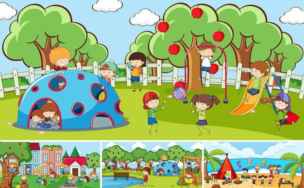 Escenas al aire libre ambientadas con muchos niños doodle personaje de dibujos animados
