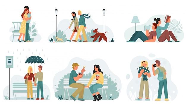 Escenas con amantes pasan tiempo juntos ilustración. hombres y mujeres abrazados, caminando con perros, esperando el autobús bajo la lluvia, descansando en el parque, leyendo libros, disfrutando de un ramo de flores