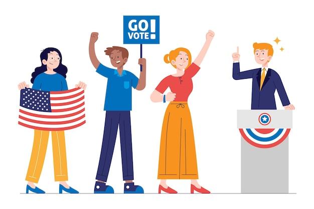 Escenas de campaña electoral de estados unidos de diseño plano