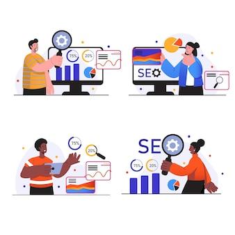 Las escenas del concepto de análisis de seo establecen que las personas investigan y analizan los datos del sitio optimizan los resultados de búsqueda