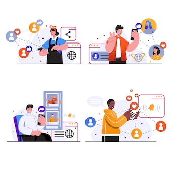 Las escenas del concepto de red social establecen que la gente chatee en línea con amigos, haga y comparta publicaciones, comentarios