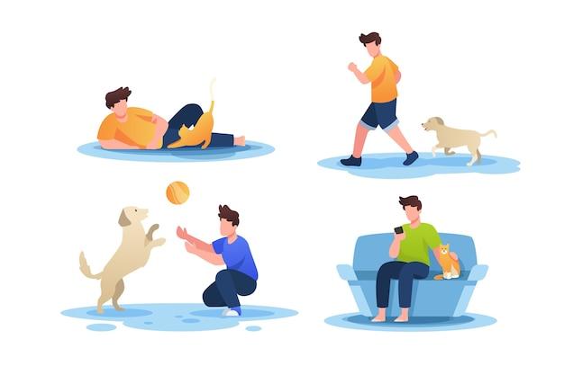 Escenas cotidianas con colección de mascotas.