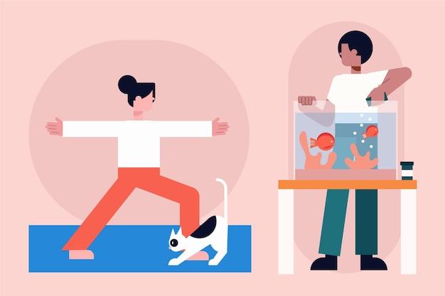 Escenas cotidianas con concepto de mascotas con gato y pez