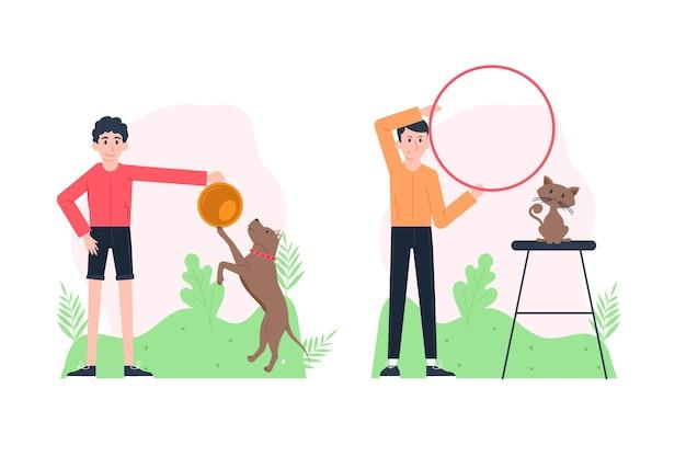 Escenas cotidianas con concepto de mascotas con perro y gato