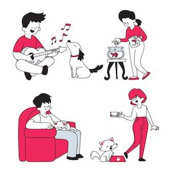 Escenas cotidianas con estilo de dibujos animados de mascotas