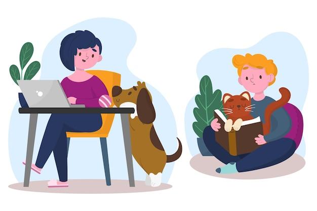 Escenas cotidianas con ilustración de mascotas