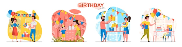 Escenas de cumpleaños ambientadas en estilo plano.