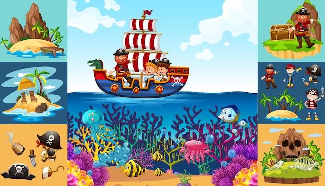 Escenas del océano con el pirata en el barco