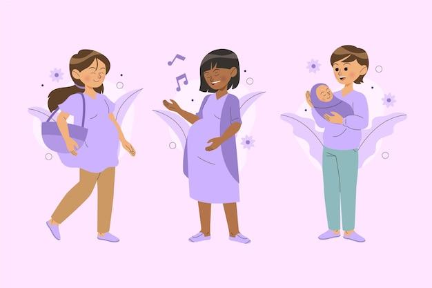 Escenas de embarazo y maternidad ilustradas.