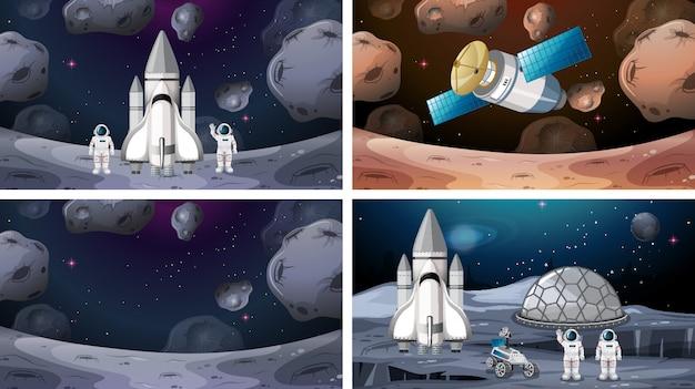 Escenas espaciales con cohetes en marte