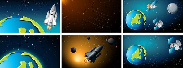 Escenas espaciales con tierra y cohetes.