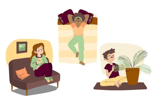 Escenas de estilo de vida hygge y diversas actividades.