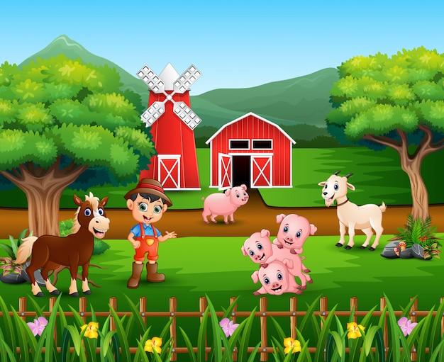 Escenas de granja con muchos animales y granjeros.