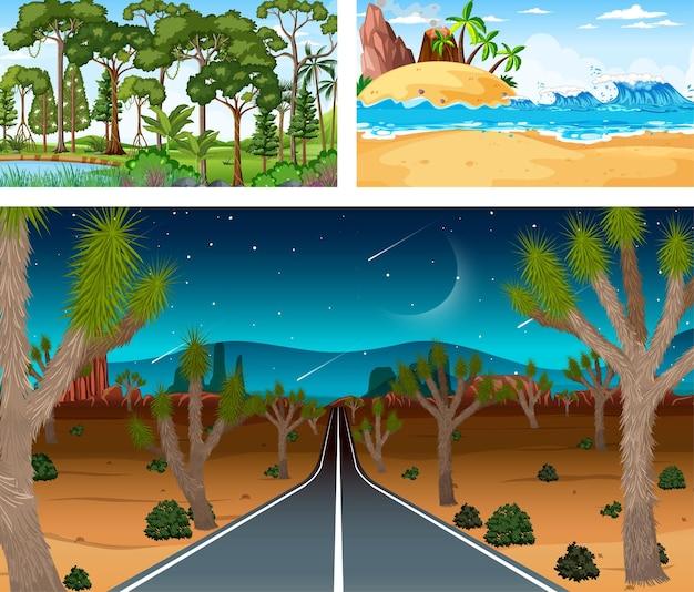 Escenas horizontales de diferente naturaleza en estilo de dibujos animados.