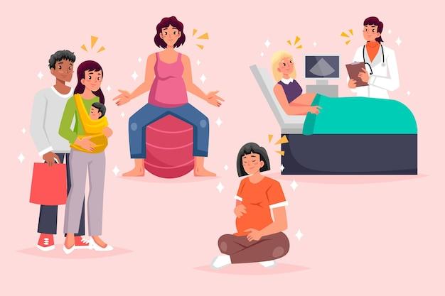 Escenas ilustradas de embarazo y maternidad.