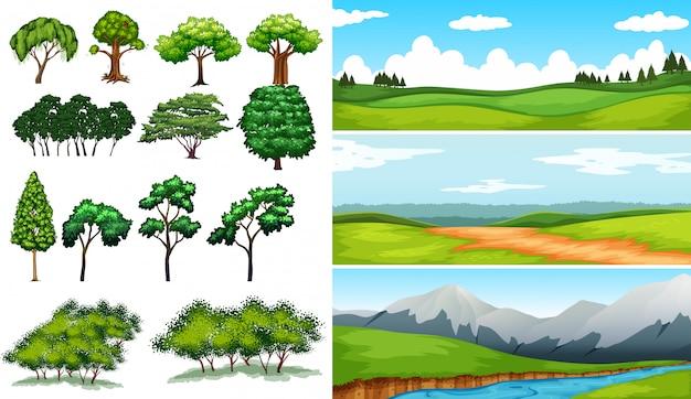 Escenas de la naturaleza con campos y montañas.