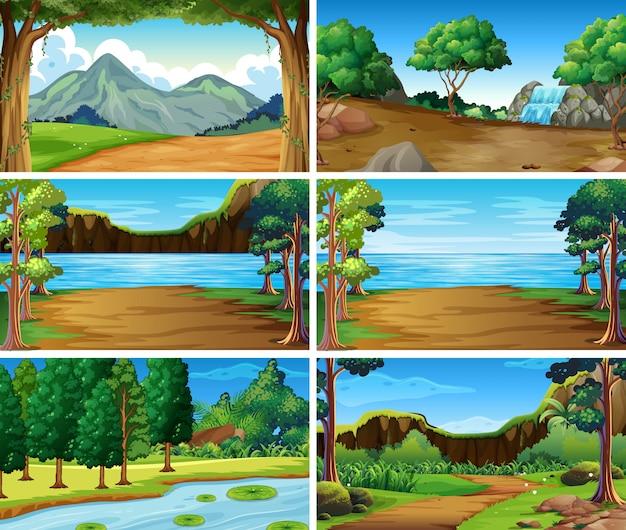 Escenas de naturaleza de paisaje vacío, en blanco
