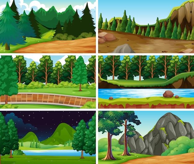 Escenas de naturaleza paisaje vacío en blanco