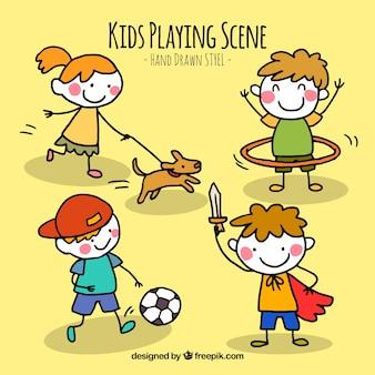 Escenas de niños jugando dibujados a mano