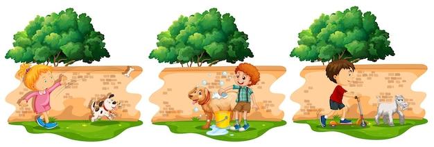 Escenas con niños y perro mascota.