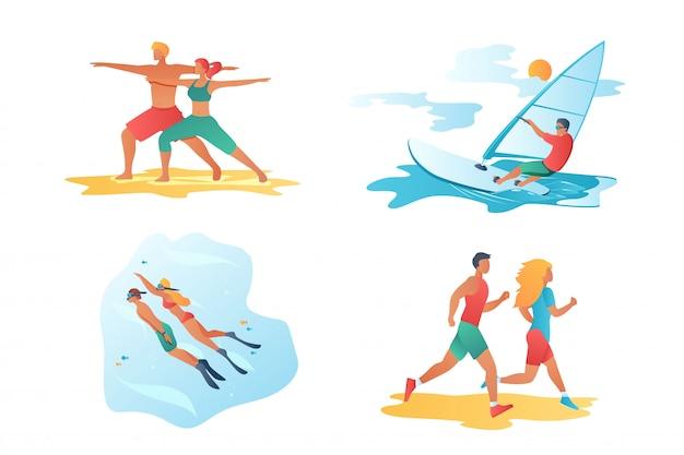 Escenas de personajes de dibujos animados de deporte