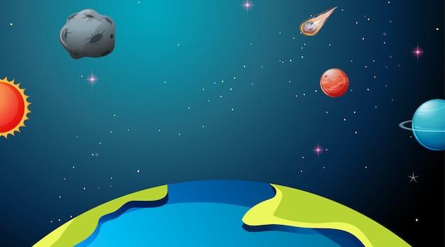 Escenas de la tierra y los planetas