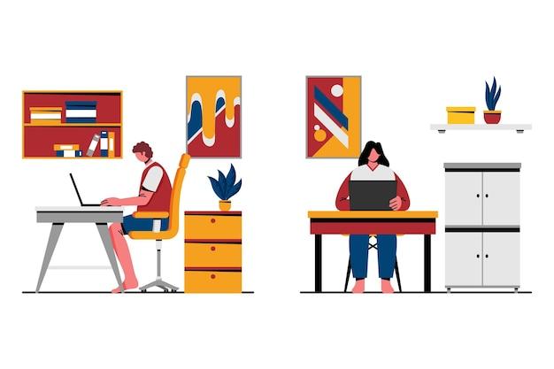 Escenas de trabajo remoto de ilustración plana