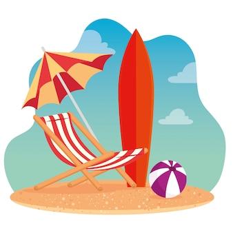Escenas de verano, silla de playa con sombrilla, tabla de surf y pelota de plástico, en el diseño de ilustración vectorial de playa