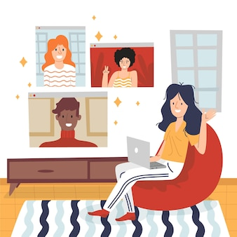 Escenas de videoconferencia de amigos dibujados a mano plana