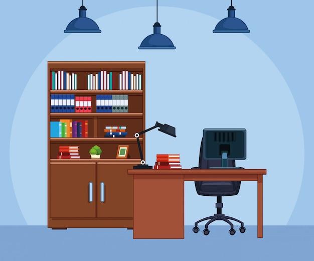 Escenografía de oficina con escritorio y biblioteca, diseño colorido