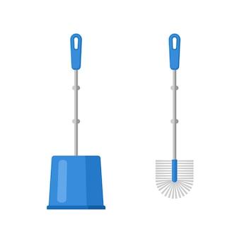 Escobilla de baño azul una herramienta para limpiar el inodoro y otros equipos de plomería